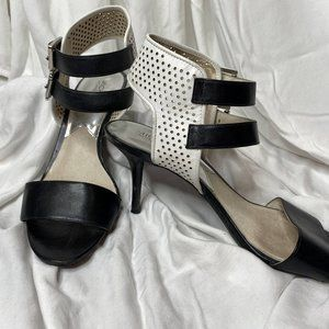 Black and White Color Block Heel